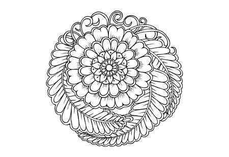 Floral mandala in black and white Stock fotó - 128701754