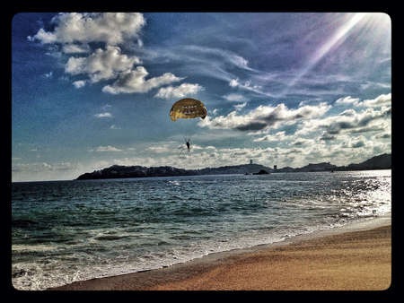 Riding parachute in Acapulco