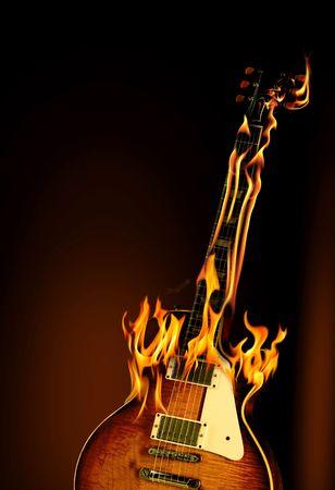 Brennen von Gitarre  Lizenzfreie Bilder