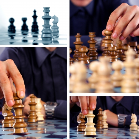 chess board: Businessman playing chess game, chess collage