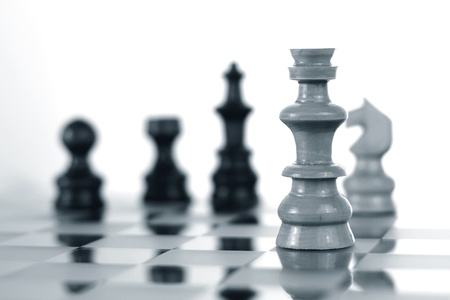 Close up of a chess board, black and white Stockfoto