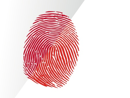 Blooded fingerprint isolated on white Standard-Bild