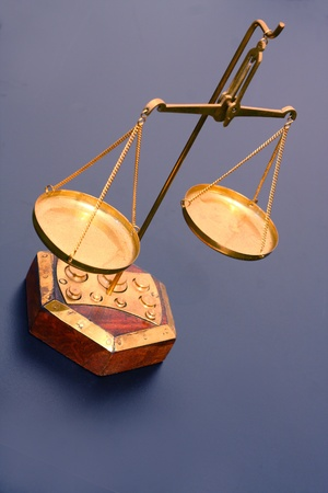antique scales: Golden vintage scale viewed from above - justice concept