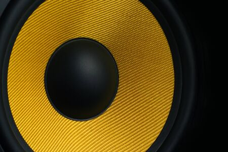 Close up view of a speaker with yellow membrane Stock Photo - 11696498