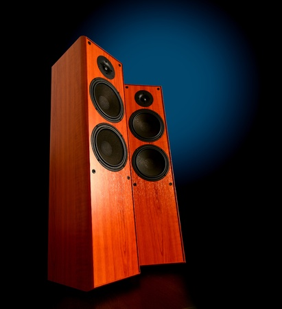 Pair of wooden speakers on dark background Stock Photo - 11696416