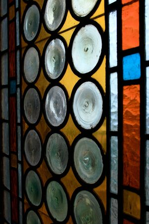 church window: Close up view of a stained glass, vitrage