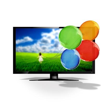 ver television: TV en 3D aislado en blanco