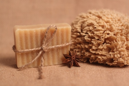 Handmade soap and bath sponge photo