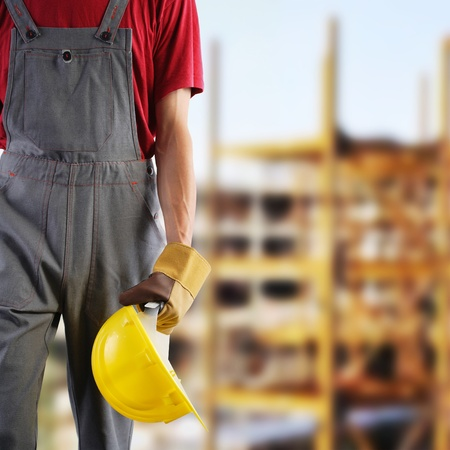 construction safety: Construction worker, protection equipment Stock Photo
