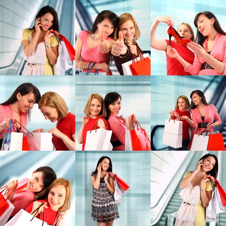 Two women at the mall, shopping collage photo