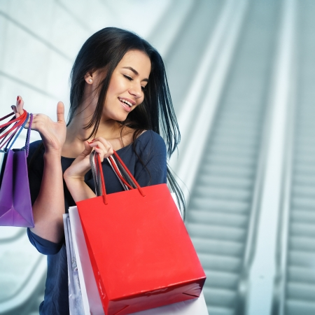 retail therapy: Woman shopping at the mall