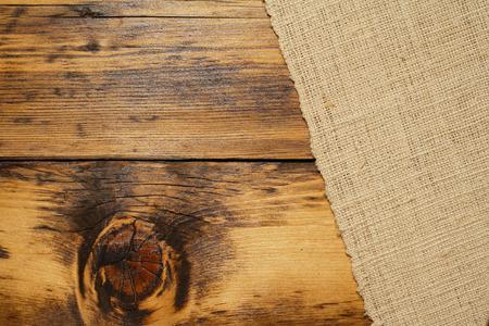 western background: Burlap and wood background