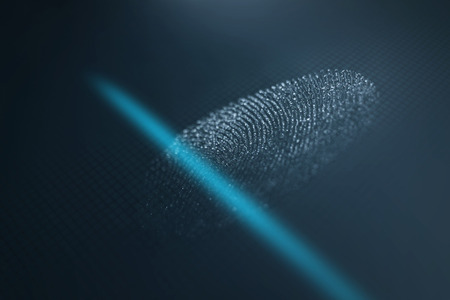 id theft: Fingerprint scanner. Fingerprint identification