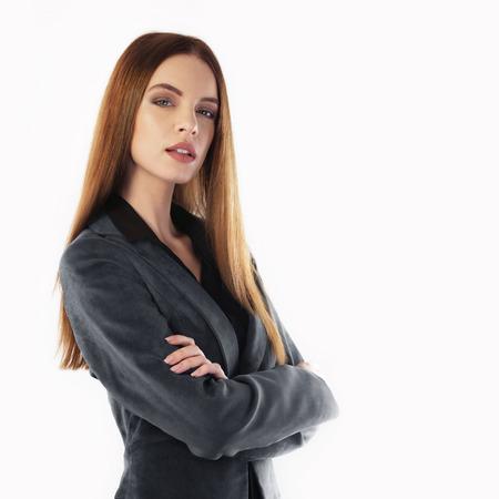 secretaria: Retrato de una mujer de negocios joven aislado en blanco Foto de archivo