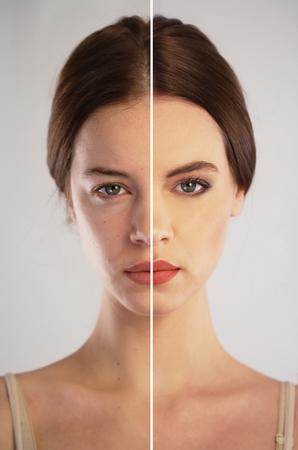 pessoas: Antes e depois de make-up. Retoque de fotos conceito Imagens