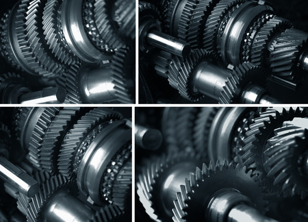 Gearbox transmission collage Stockfoto