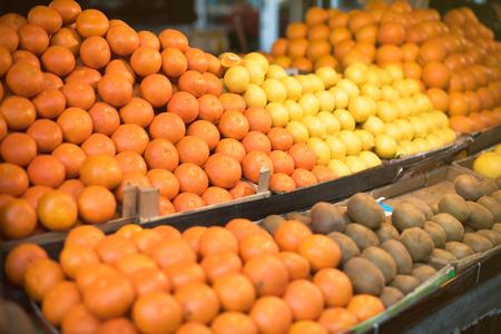 Fresh fruits on a farm market Stock Photo