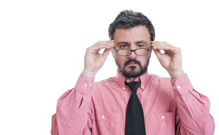 foresight: Man taking an eye exam and wearing glasses