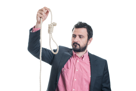 gallows: Portrait of a businessman with a gallows in his hand Stock Photo