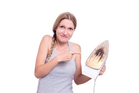 Shocked Woman With Burned Iron Stock Photo