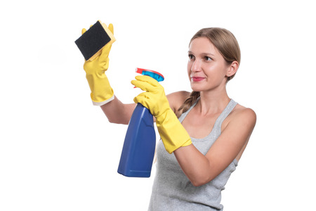 Tired cleaning woman isolated on white background