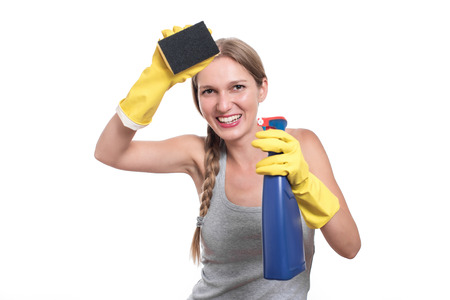dish washing gloves: Young housewife woman cleaning, isolated on white background