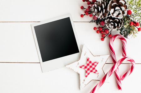 christmas decor: Blank photo frames and Christmas decor Stock Photo