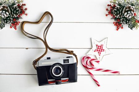christmas decor: Old vintage camera and Christmas decor