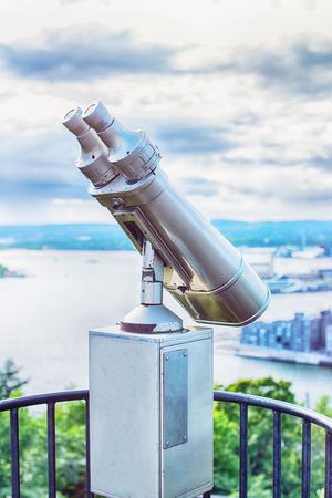 Coin Operated Binocular viewer Stock Photo