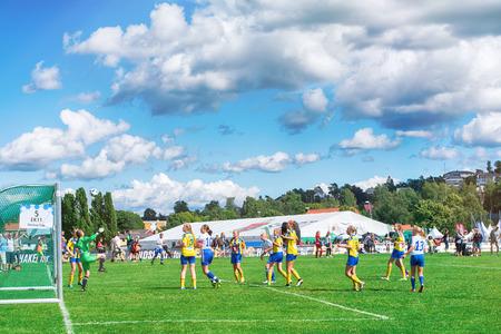 Oslo, Norway - July 31, 2016: Girls play football