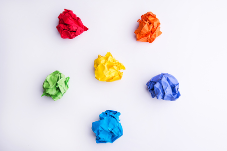 the topics: New Idea Concept. Colorful Crumpled Paper Balls