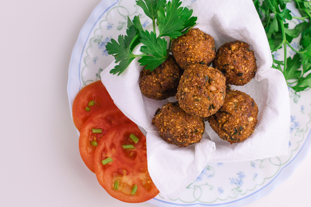 Falafel on white table