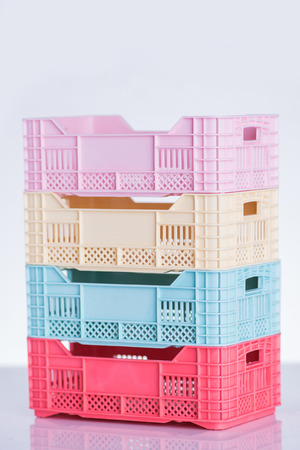 Pastel colored plastic crates