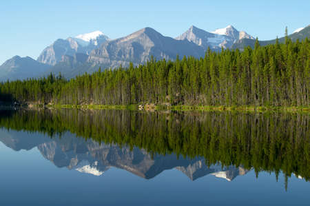 wonderfull: Mountain and forest Reflection in Mirror Lake. Herbert Lake, Rocky Mountains, Canada Stock Photo