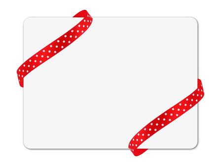 Corner ribbon note card isolated on white photo