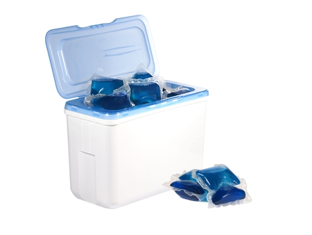 Gel capsules with laundry detergent photo