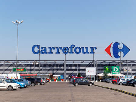 FOCSANI, ROMANIA - OCTOBER 28, 2017. Carrefour Hypermarket in Focsani. Carrefour is a French multinational retailer, and one of the largest hypermarket chains in the world