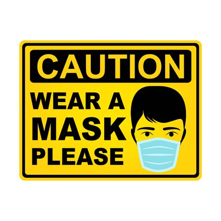 Wear a mask caution sign, vector design  イラスト・ベクター素材