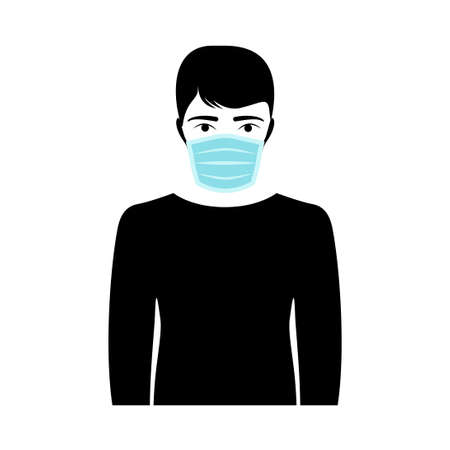 Young man wearing medical mask isolated on white, vector design Illustration
