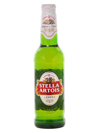 BUCHAREST, ROMANIA - JANUARY 16, 2015. Stella Artois glass bottle beer isolated on white. Stella Artois or Stella is a pilsner beer brewed in Leuven, Belgium, since 1926 by Anheuser-Busch InBev