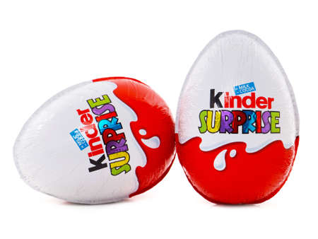 BUCHAREST, ROMANIA - FEBRUARY 24, 2016. Kinder Surprise chocolate egg with a small toy for children. Kinder Surprise eggs are manufactured by Italian company Ferrero