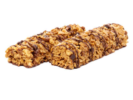 Chocolate glaze cereal bars isolated on white
