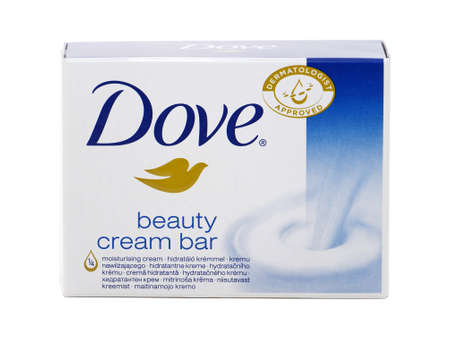 BUCHAREST, ROMANIA - MARCH 8, 2016. Dove Beauty cream bar soap isolated on white. Dove is a personal care brand owned by Unilever