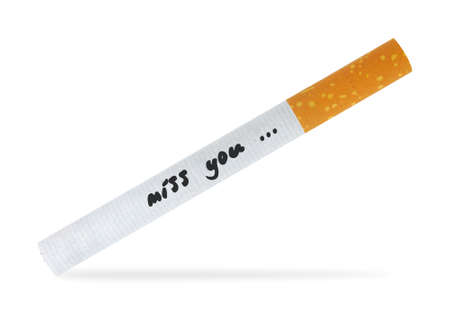 Miss you message on a cigarette, isolated on white