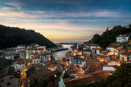 Beautiful view of coastal Asturias sea village Cudillero