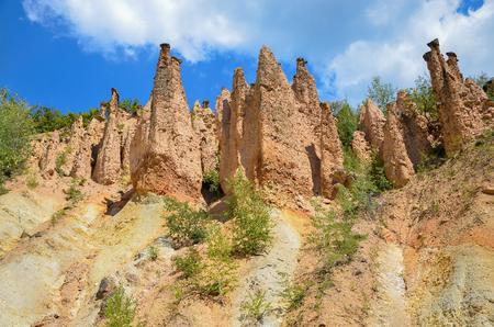 Rock formations in Devil town landmark, Serbia.