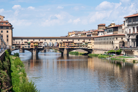 Ponte Vecchio - the most famous bridge in Florence over Arno river Stock Photo
