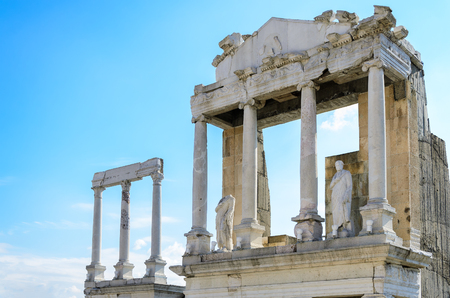 Pillars at ancient Roman theatre of Philippopolis, Plovdiv, Bulgaria Stock Photo