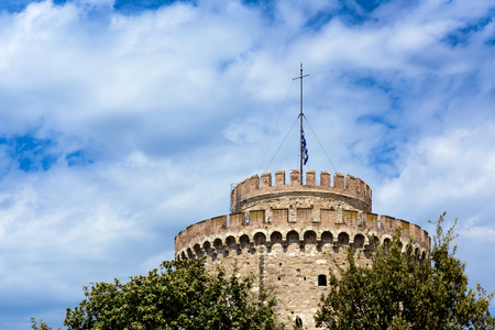 White tower at Thessaloniki city in Greece with copy space