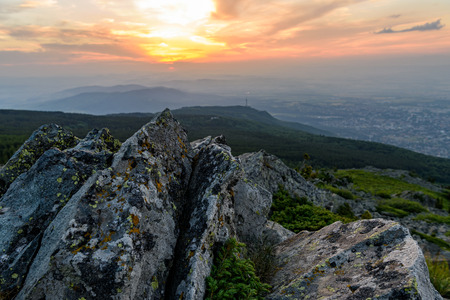 ridged: Inspiring sunset at Vitosha national park, Bulgaria